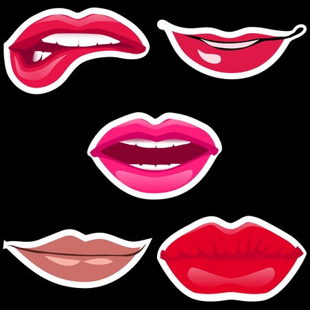 Lips patch collection. Vector illustration of sexy doodle womans lips expressing different emotions. Isolated on black background