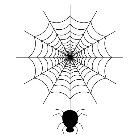 Black spider on the spider web icon helloween vector image Stock Illustratie