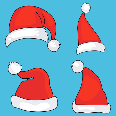 Christmas santa claus red cartoon hats isolated vector image Stock Illustratie