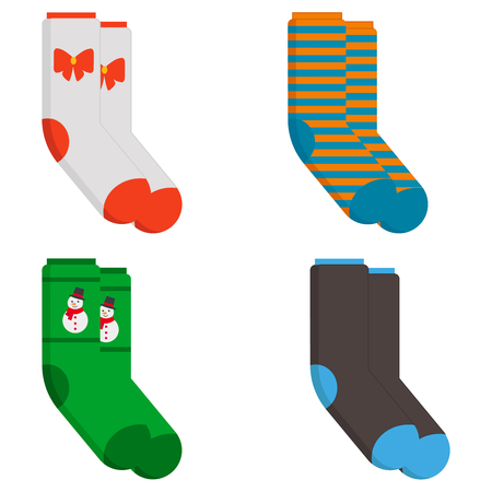 Icona di calzini invernali. Illustrazione piana di calzini invernali icona vettoriali per il web design