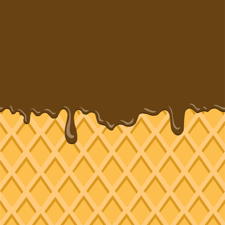 Dark Chocolate Melted on Wafer Background : Vector Illustration