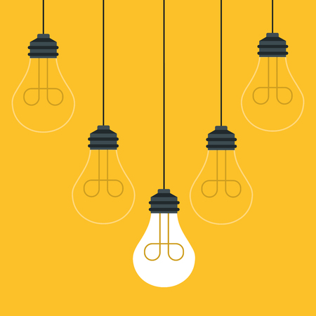 Set of hanging light bulbs with one glowing. Trendy flat vector light bulb icons with concept of idea on yellow background.