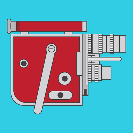 Vector photo camera in retro style isolated on blue background