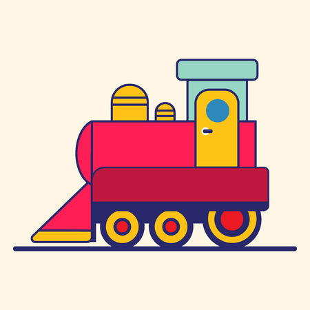 Cartoon Style Toy Railroad Train. Vector illustration
