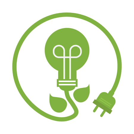 planet care bulbs image, symbol bulb environmental care icon, vector illustration.