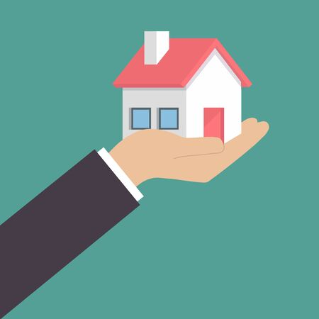 Hand holding home in palm vector image. Concept for home agent, sale and rent of a house Illustration