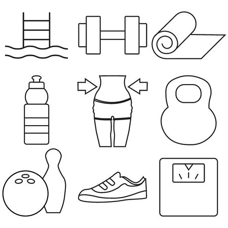 Set Of 9 Bodybuilding Outline Icons Set.Collection Of Diet, Water Bottle, Dumbbell And Other Elements.
