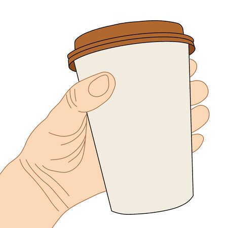 Hand holding a disposable brown cup of coffee with cap.
