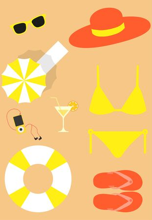 Bright beach set for woman vector image