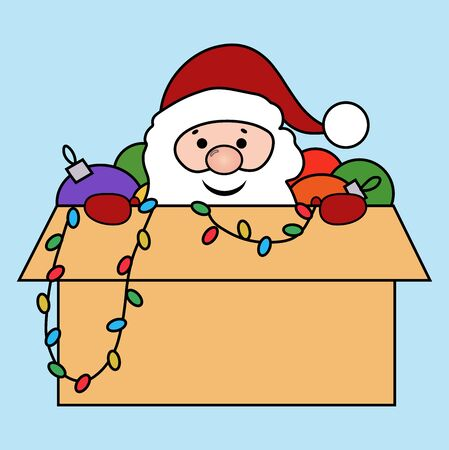 Santa in a box with Christmas toys vector image