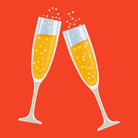 The clink of champagne glasses. Vector illustration.
