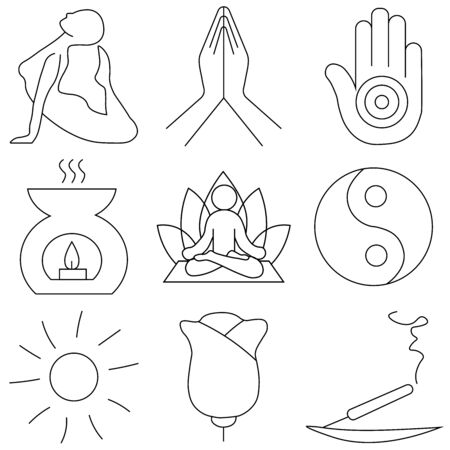 Set of hand drawn yoga and wellness line icons. Elements in outline style for spa center or yoga studio