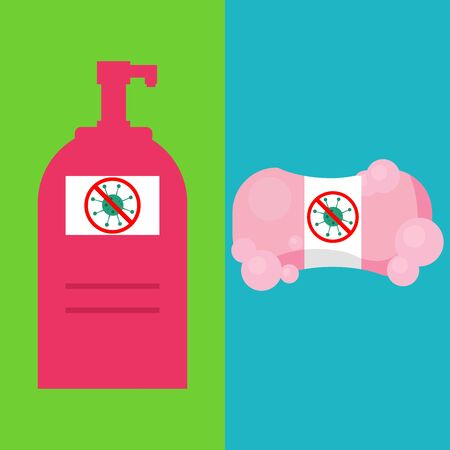 Disinfection. Hand hygiene. Hand sanitizer bottles, washing gel, Soap Bar. Foam Bubbles. Vectores