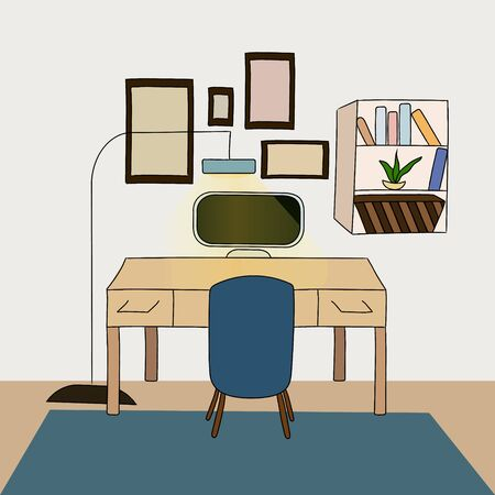 Work from home office. Study at home. Room interior Illustration
