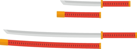 katana: Tanto and katana with red handles