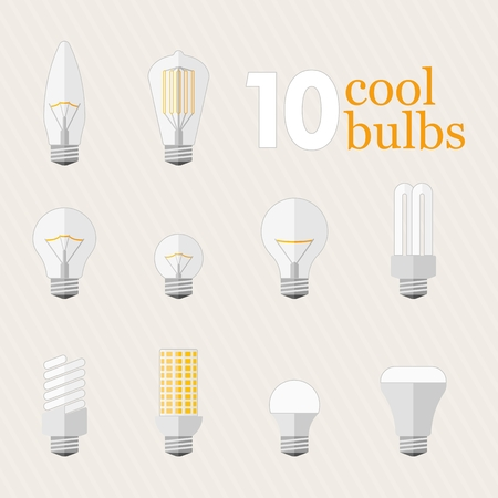 tungsten: Set of 10 different filament lamp, energy saving and led bulbs