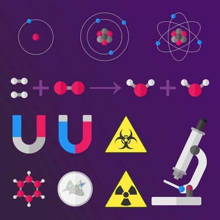 stile: Some science stuff flat stile signs on violet background