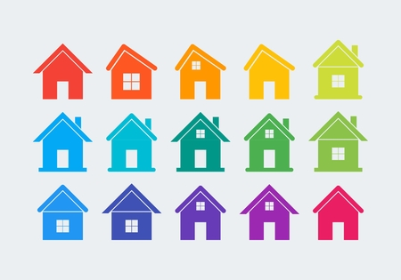 windows and doors: 15 colored flat houses with doors and windows icons