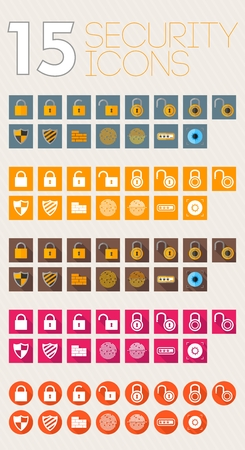 different shapes: Security icons flat style different shapes color and white Illustration