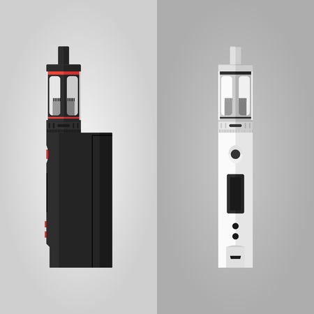 mod: Two different colors vaping kits box mod and clearomizer Illustration