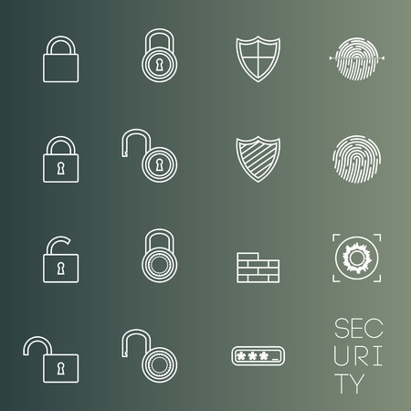 opened eye: Security icons thin lines styled shield, lock, etc