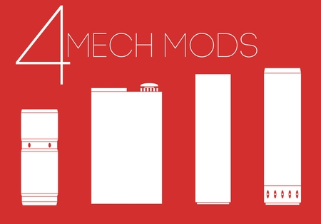 rta: 4 one color mechanical mods icons set Illustration