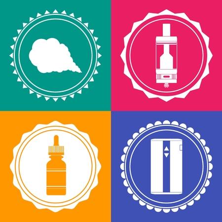 e liquid: Set of 4 vaping stuff design element signs