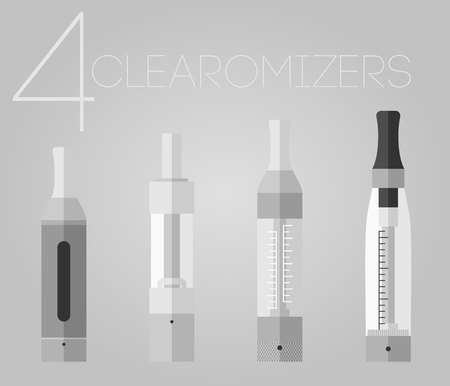 warmed: 4 colored flat style vaping clearomizers set