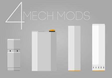 rta: 4 colored flat mechanical mods icons set Illustration