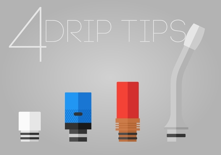 rta: 4 colored flat vaping drip tips set Illustration