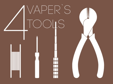 rta: 4 one color white vaper tools set Illustration