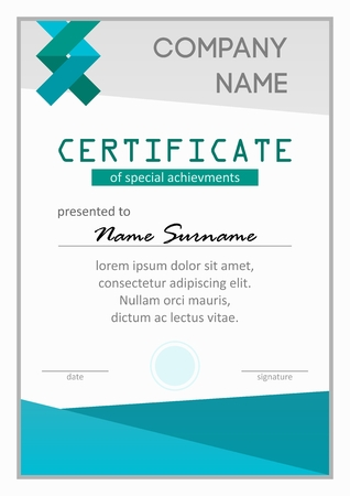 sucsess: Certificate of special science achievments teal vertical template