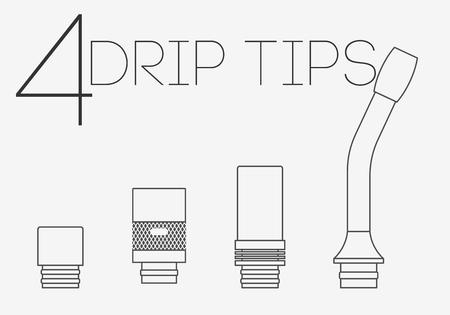drip: 4 thin lines vaping drip tips set Illustration