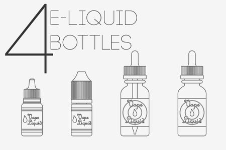 e liquid: 4 thin lines cute e-liquid flat stile juice bottles