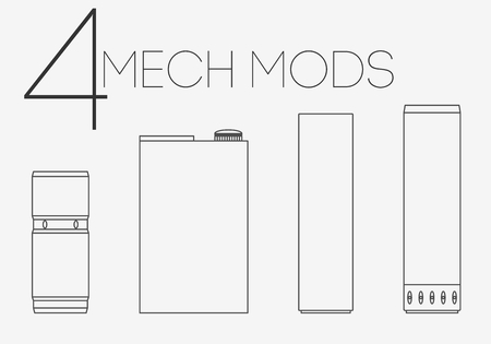 rta: 4 thin lines mechanical mods icons set