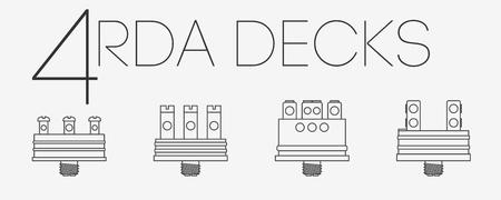 decks: 4 thin lines RDA decks icons set