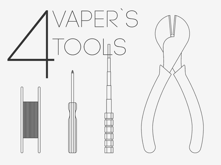 rta: 4 thin lines flat vaper icons tools set