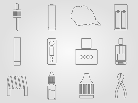 mech: 12 vaping stuff thin lines style icons set