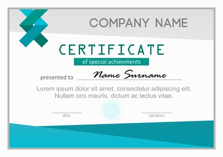 sucsess: Certificate or diploma of special science achievments teal horizontal template