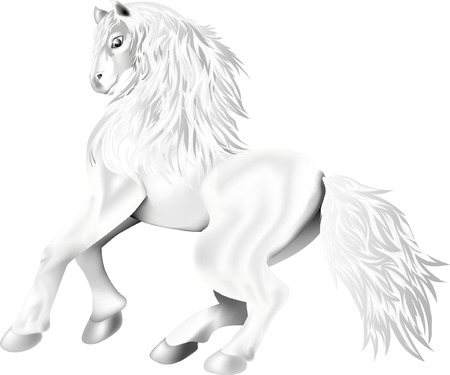 galloping horse of white color Stock Illustratie