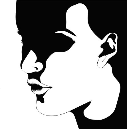 silhouette of a woman in black and white Çizim