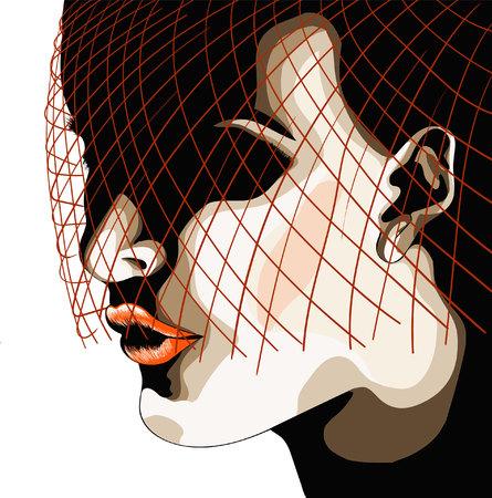 silueta de rostro de mujer con velo