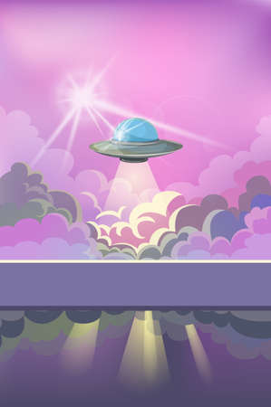 image of a ufo above the clouds. Concept. Cartoon style.