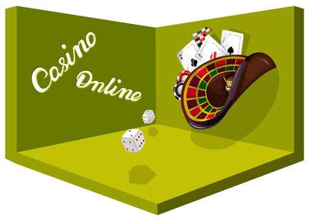 Vector conceptual image for a gambling establishment. Ð¡ards, poker chips, roulette seem to float in zero gravity. Poker gambling mobile app icon. EPS 10