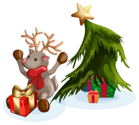 Vector image of a Christmas deer sitting by the tree and opening wrapped gift boxes. Concept. EPS 10