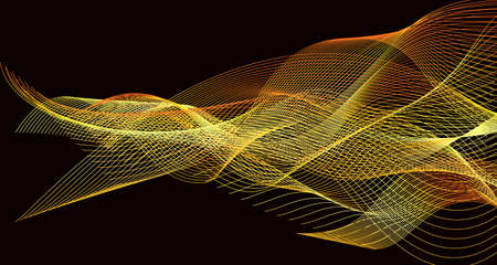 Vector background image of lines wriggling in a specific order, creating a pattern in gold shades in the form of threads Vecteurs
