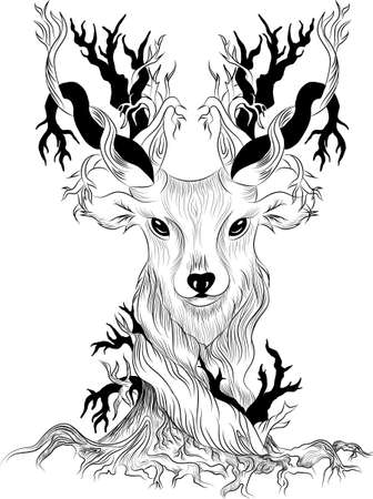 Vector image of a deer as a concept of a single whole nature and animals. Call for respect for wildlife. Environmental issues related to deforestation, fires and brokerage