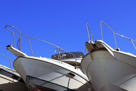 slipway: motor boat on the slipway nafone blue sky