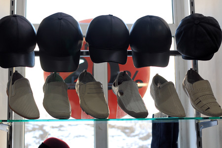 headgear: showcase footwear and headgear for background banner Discount Stock Photo