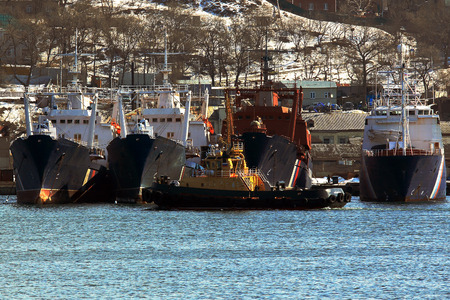 fisheries: vessels of Fisheries and raid tug parked in the city of Vladivostok Russia